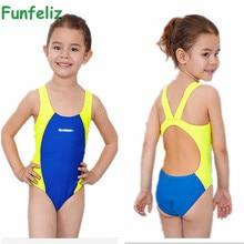 e57cafb2fc494 Funfeliz Girls Sport Swimsuit Kids bathing suit infantil One Piece swimwear  for girls bathers Children lovely