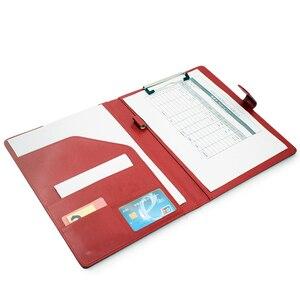 Image 5 - A4 Папки с зажимом папка портфель многофункциональный кожаный Организатор крепкая офис менеджер клип блокноты юридические Бумага контракта