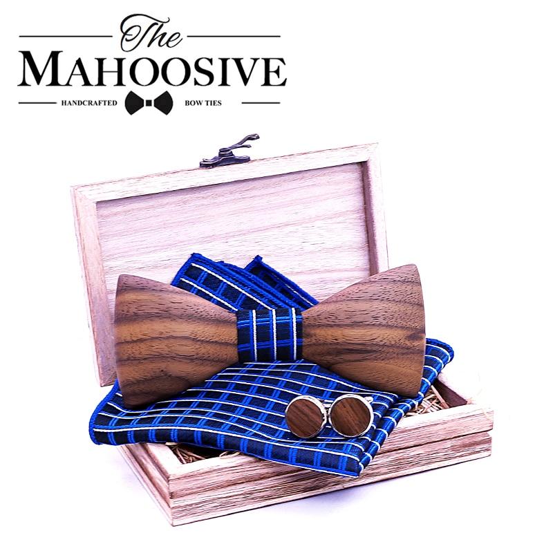 3D Men Wooden Bow Tie Set BowTie And Handkerchiefs Cufflinks Necktie For Business Wedding Party Hombre New Year Gift