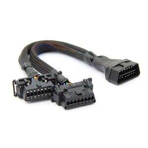 Image 4 - Novo obd2 macho para dupla fêmea cotovelo cabo de extensão com 16 pinos disponíveis para conectado 1 em 2 convertido obd 2 extensor adaptador