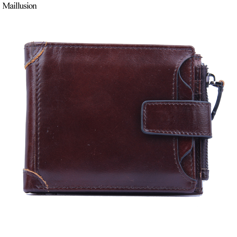 Maillusion Hasp Wallets Men Genuine Leather Vintage Wallet Card Holder Cowhide Purse Money Famous Brand Designer Male Day Clutch designer 2017 new mens ostrich wallet men clutch wallet cowhide genuine leather zipper long male purse phone holder famous brand