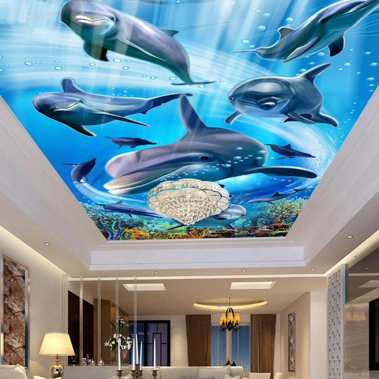 Restaurant customizing decoration stickers mural 3d for Big fish screen printing