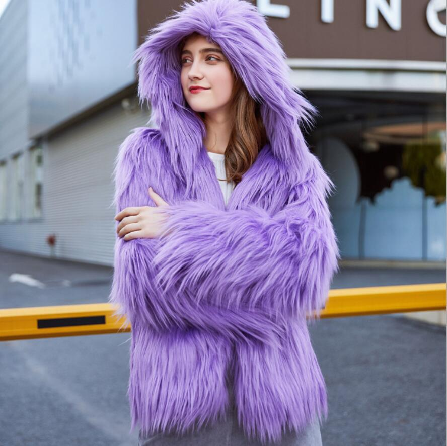 High Quality Winter Woman Fashion Casual Purple/gray/green/wine Red Color Hooded Faux Fur Coat England Style Leisure Faux Fur