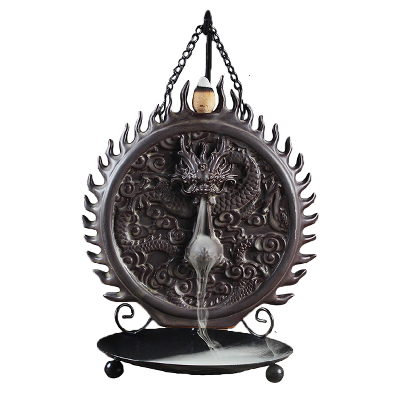 Nouvelle plaque suspendue Dragon Backflow brûleurs d'encens en céramique tour esprit chambre décor ornements cône censeurs thé Pet dans la boîte-cadeau