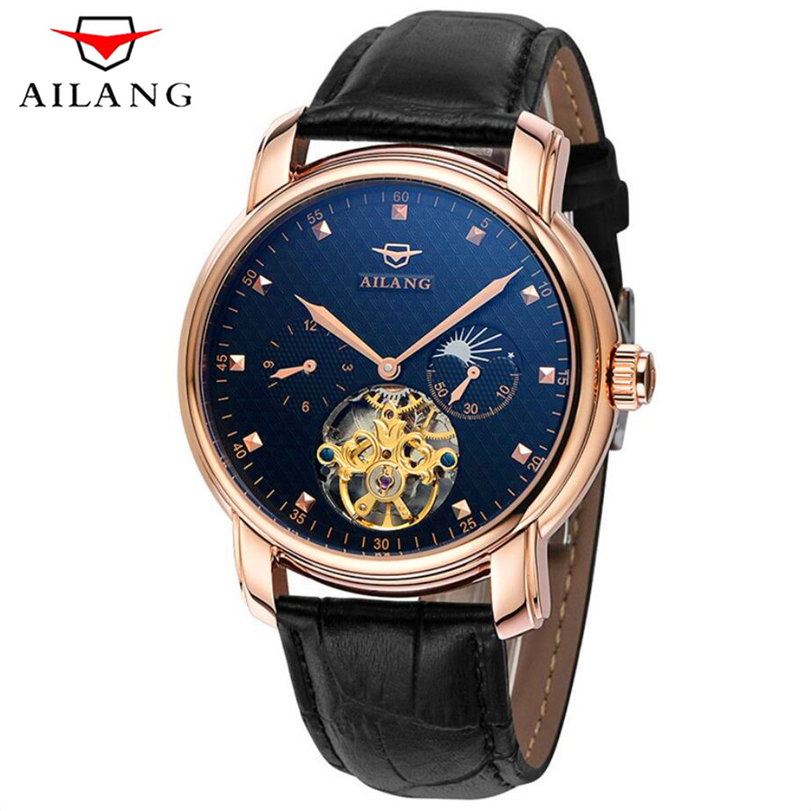 AILANG Mens Watches Top Brand Luxury Automatic Mechanical Watch Genuine Leather Military Watches Tourbillon Clock Men Relojes 2017 forsining leather automatic watch mens watches top brand luxury sports men military waterproof tourbillon mechanical watch
