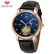 AILANG Mens Watches Top Brand Luxury Automatic Mechanical Watch Genuine Leather Military Watches Tourbillon Clock Men Relojes