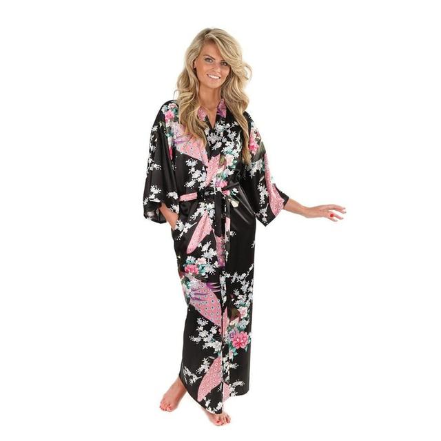 Новый Черный Женщины Атласа Кимоно Халаты Долго Сексуальная Ночная Рубашка Старинные печатных Ночное Платье Цветок Размер Sml XL XXL XXXL A-045
