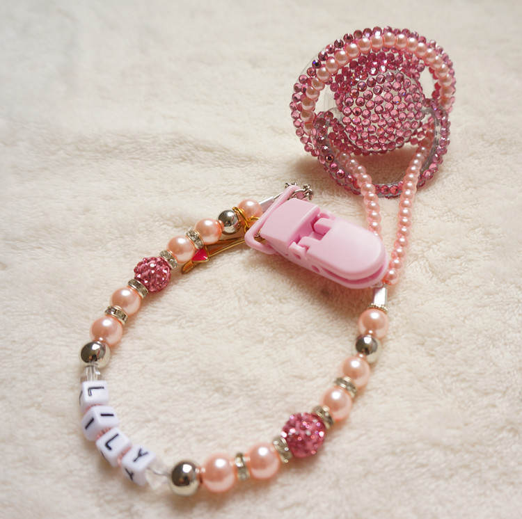 Hot pink Princess hand made bling crystal rhinestone Baby Pacifier Nipples Dummy cocka chupeta with pacifier