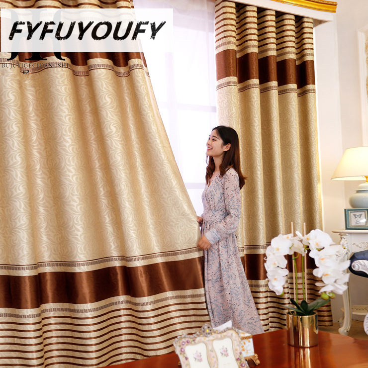 Modern Stripe luxury  Blackout curtain for Window Curtains Styles for Living Room Elegant Drapes European Curtains(China)