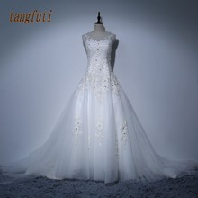 Modest Wedding Dresses Appliques Pearls Crystals Sheer Neck Backless Corset Back Bridal Gowns Real Photo