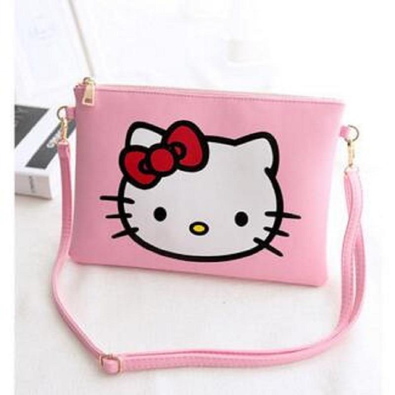 1f789815e7aa 2017 New Hot Women Hello Kitty Messenger Bags Bag Leather Handbags Clutch  Bag Bolsa Feminina mochila