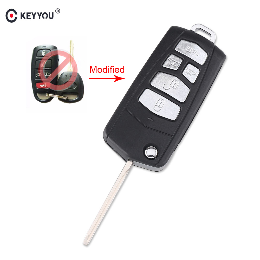 KEYYOU Replacement 5 Buttons Modified Flip Folding Remote Key Shell Case For Kia Sedona Mini Van Fob Car Key Cover Case(China)