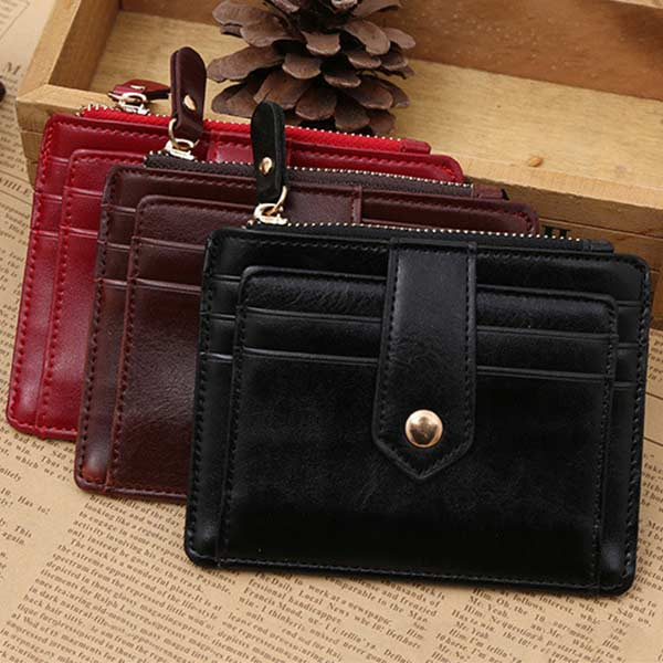 Classic PU Leather Zipper Hasp Coin Purse Photo Bit Credit Card Slots Coins Change Pocke ...