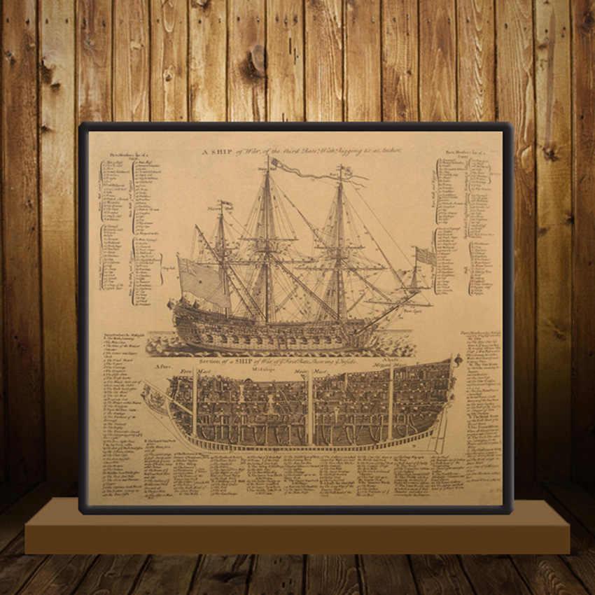 Tie Ler Grote Maritieme Tijdperk Oude Oorlogsschip Ontwerp Tekeningen Vintage Posters Kraft Papier Posters Muurstickers Muurschildering Decoratie