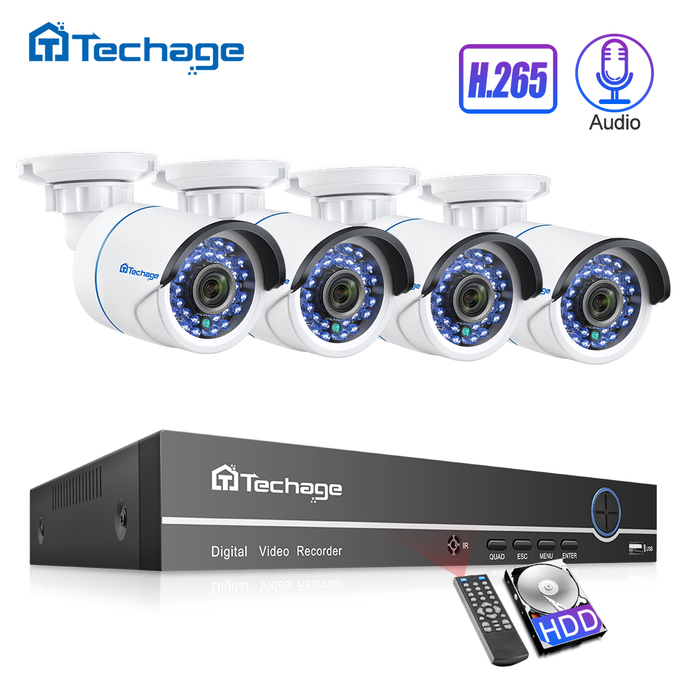 H.265 2MP 8CH 1080P POE NVR Kit CCTV Sistema de Segurança de Áudio Sound Record P2P Onvif Câmera IP IR Ao Ar Livre conjunto de Vigilância Por vídeo
