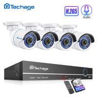 H.265 8CH 1080P POE NVR Kit sistema CCTV hasta 16CH NVR 2MP Audio IP Cámara IR al aire libre P2P Onvif Video Vigilancia Conjunto de Seguridad