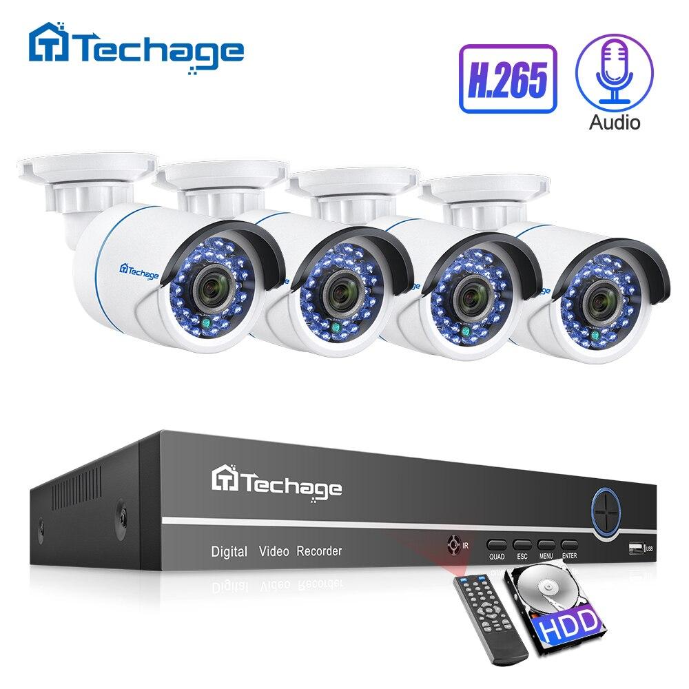 Techage H.265 8CH 1080 P POE NVR CCTV P2P Conjunto 2.0MP Gravação de Som Áudio Câmera IP Sistema de Segurança de Vídeo Ao Ar Livre kit de vigilância