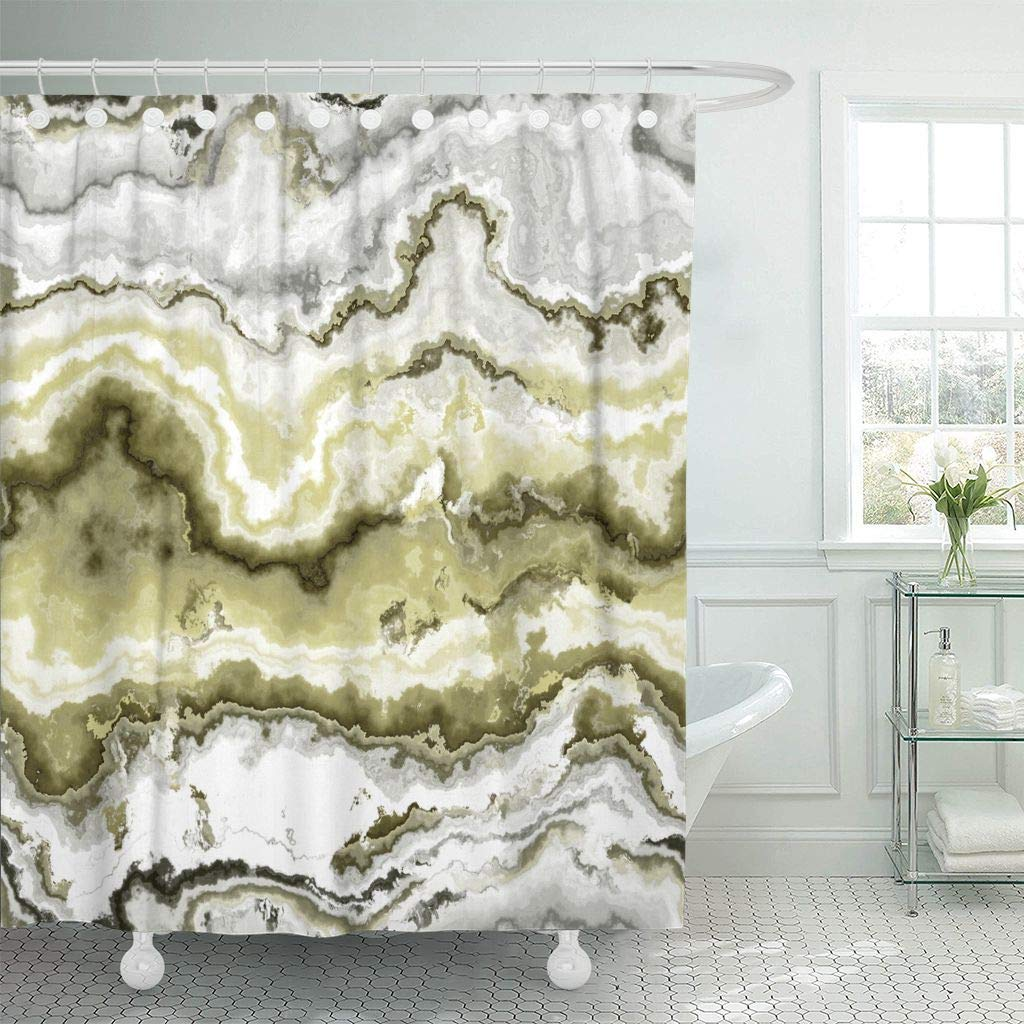 Shower Curtain With Hooks Green African Gem Stone Pattern Yellow Agate Aluminosilicate Batu Botswana Brazilian Bathroom