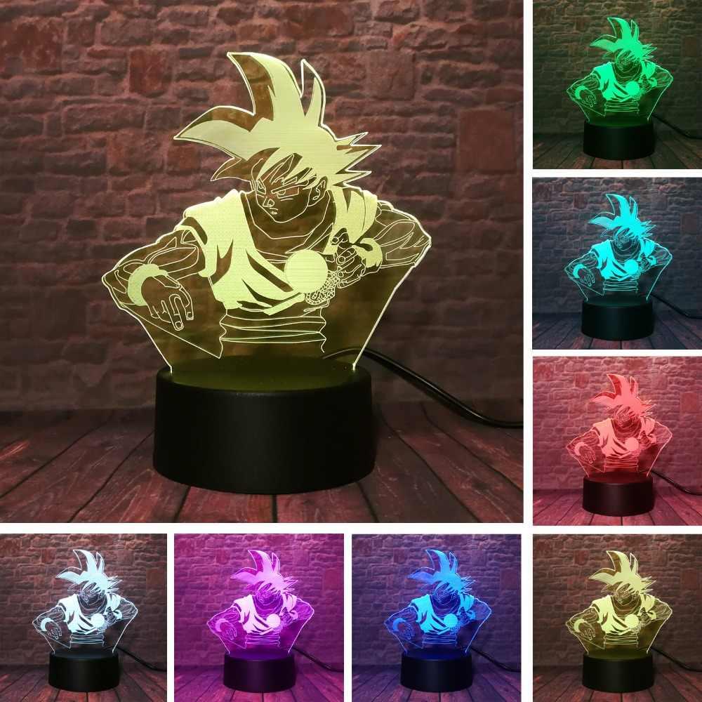 Dragon Ball Brinquedos Luminosos Luz de Toque iluminado 3D Super Saiyan Goku Ilusão Candeeiro de Mesa 7 cores para crianças Presentes