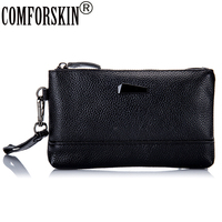 COMFORSKIN 2018 New Arrivals Fashion Women Coin Purses Luxury Genuine Leather Lady Zipper Day Clutch with Hand Rope Large Space