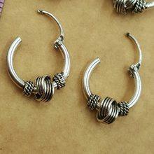2f67467a5671 Plata antigua Vintage redondo círculo aro pendientes para las mujeres los  hombres cabeza de clavo anillos pendientes hecho a man.