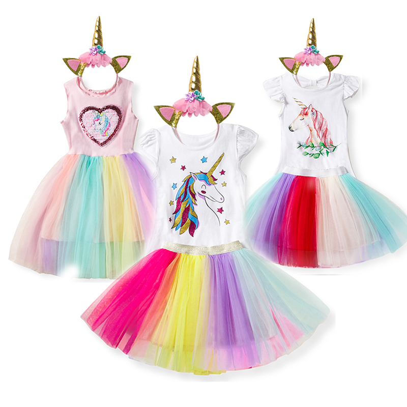 Girl Unicorn Party Dress Tulle Princess Costume Children  Headband Birthday Dress Up Clothes Little Baby Outfits 3 5 6 8T