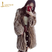 LVCHI 2018 Imported Marble Fox Fur Coats Slim V Neck Fur Coat Women's Striped Medium Fur Strip Sewed Toghter Warm Fox Fur Coats
