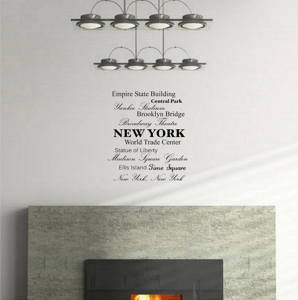 Wall art kitchen quotes - Empire State Building Central Park Broadway Theater New York Wall Art Inspirational Quotes Kitchen Wall Sticker Home Decor