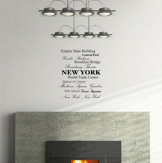 Empire State Building Central Park Broadway TheaterNew York Wall Art Inspirational Quotes Kitchen Sticker Home Decor