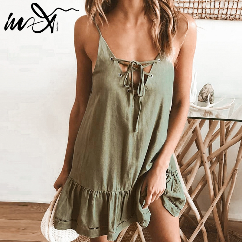 In-X Sexy beach dress summer 2019 Ruffle cover ups women Lace up swimsuit New beach wear large size tunic female dress Cover up