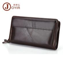 JOYIR Men Genuine Leather Wallet Long Double Zipper Wallet Fashion Brand Long Wallet Male Clutch Bag