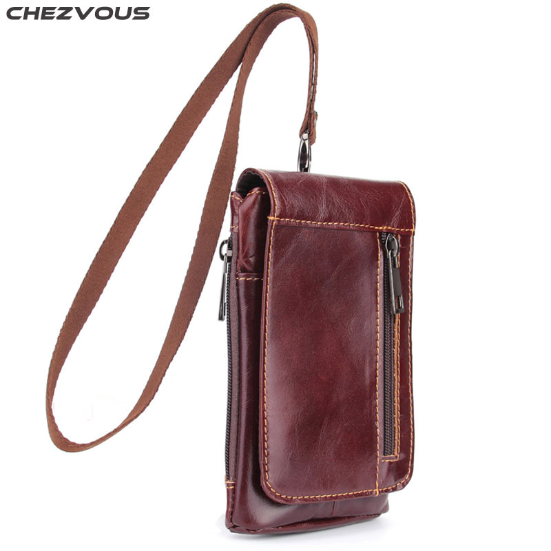 CHEZVOUS 6.3 Mobile Phone Bag Case for iPhone 7 8 6 plus 5S 6S X Soft Leather Belt Phone Pouch Holster for Samsung S8 S9 plus