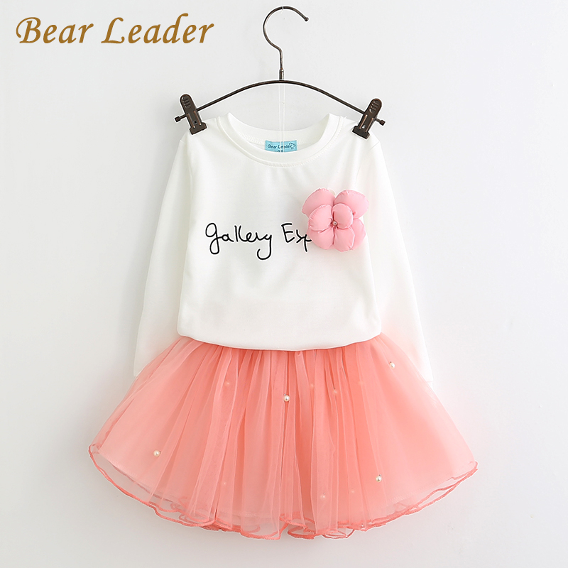 Bear Leader Girls Clothing Sett 2018 Brand Girls Clothing Butterfly Sleeve Letter T-skjorte + Floral Volie Skjørt 2Pcs for Dress Girl