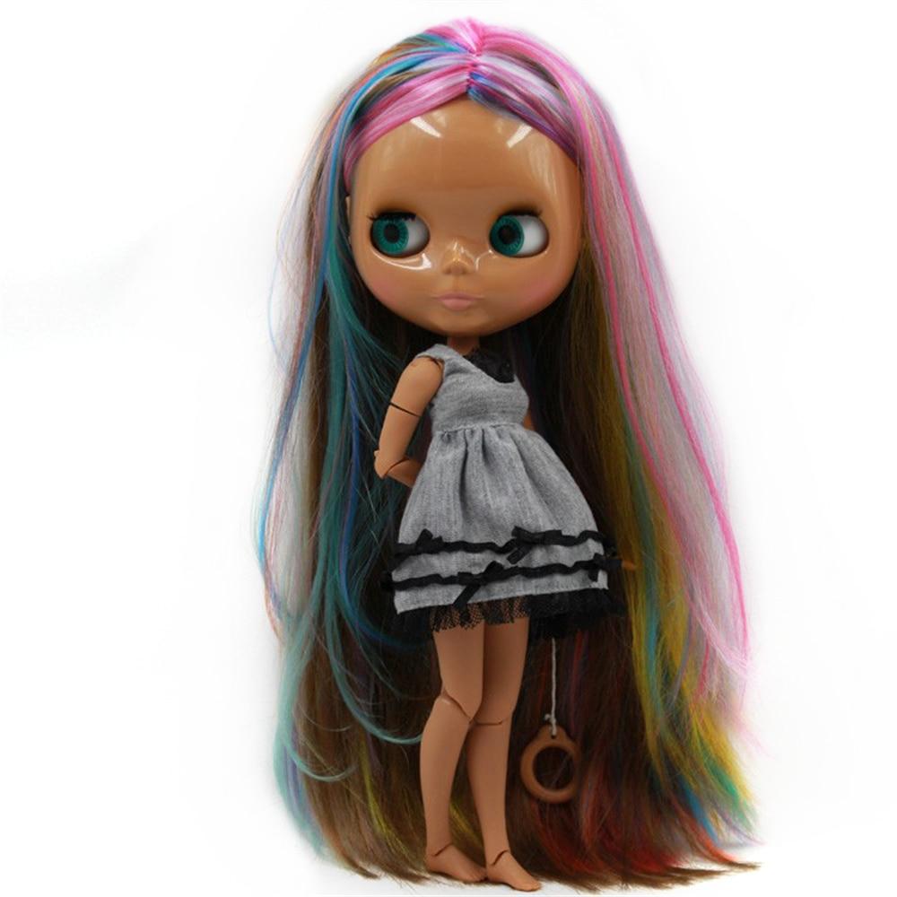 Blyth Doll 1/6 kolorowe włosy centrum cięcia ciemna czekolada skóry 4 kolory dla oczu nadaje się do DIY darmowa wysyłka zabawki prezent w Lalki od Zabawki i hobby na  Grupa 1