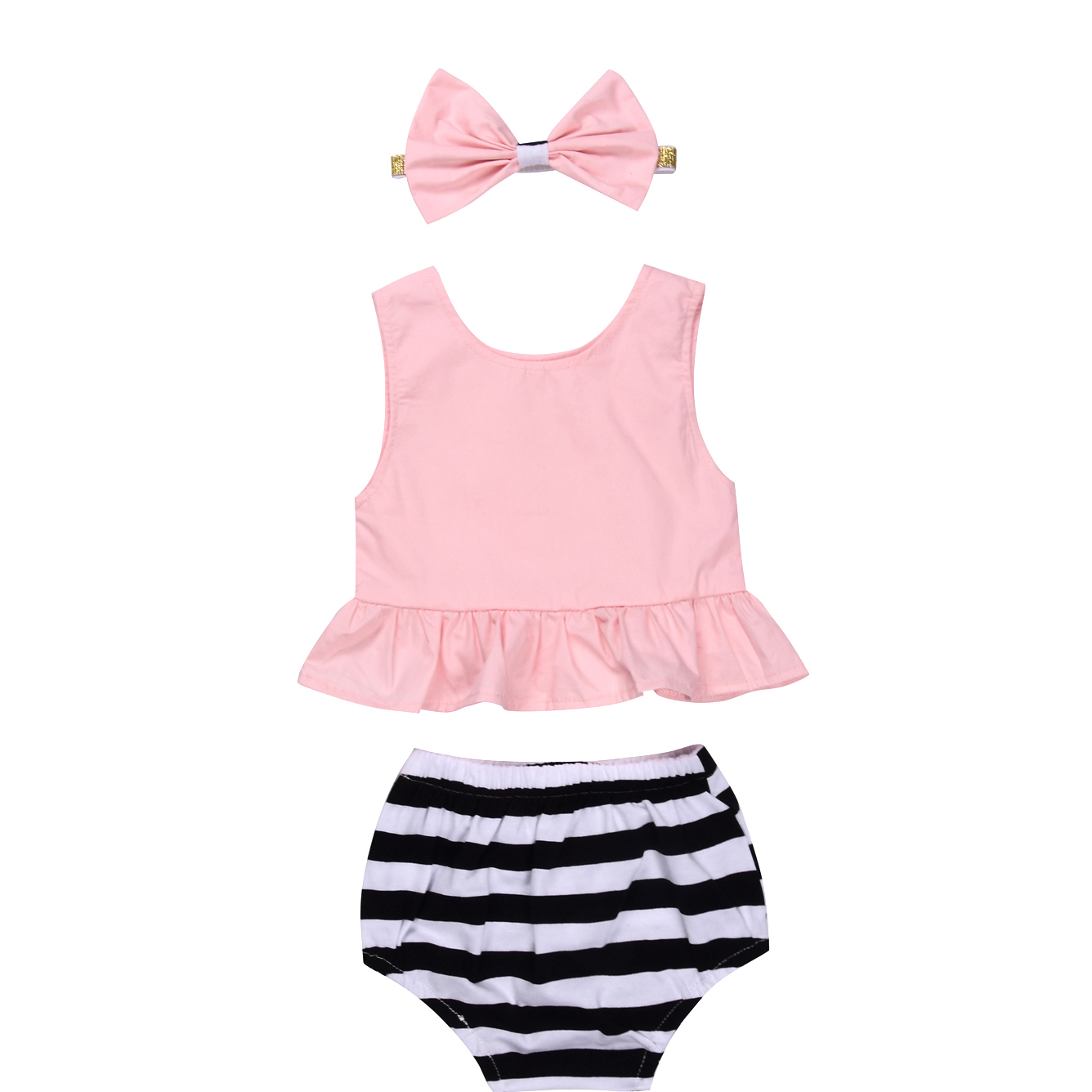 2017 Summer Cute Newborn Baby Girls Clothing Set Pink Ruffles Tank Tops+Stripped Baby Bloomers Shorts 2PCS Outfits Children Set 0 24m floral baby girl clothes set 2017 summer sleeveless ruffles crop tops baby bloomers shorts 2pcs outfits children sunsuit