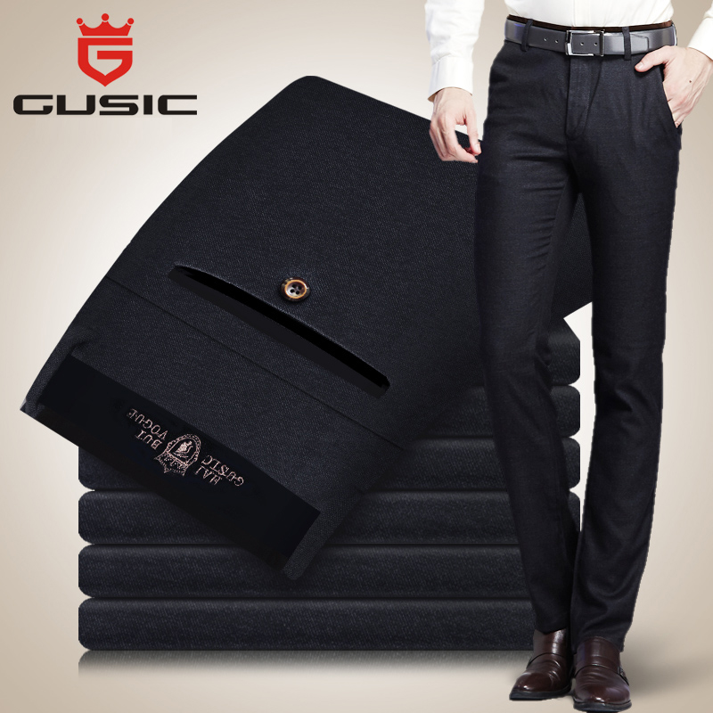 Fashion Men Casual Pants Brand GUSIC Big Size Pants (28-44) Men Business Trousers Mens Winter Pants Stretch Slim Fit 35185 2017 new designer korea men s jeans slim fit classic denim jeans pants straight trousers leg blue big size 30 34
