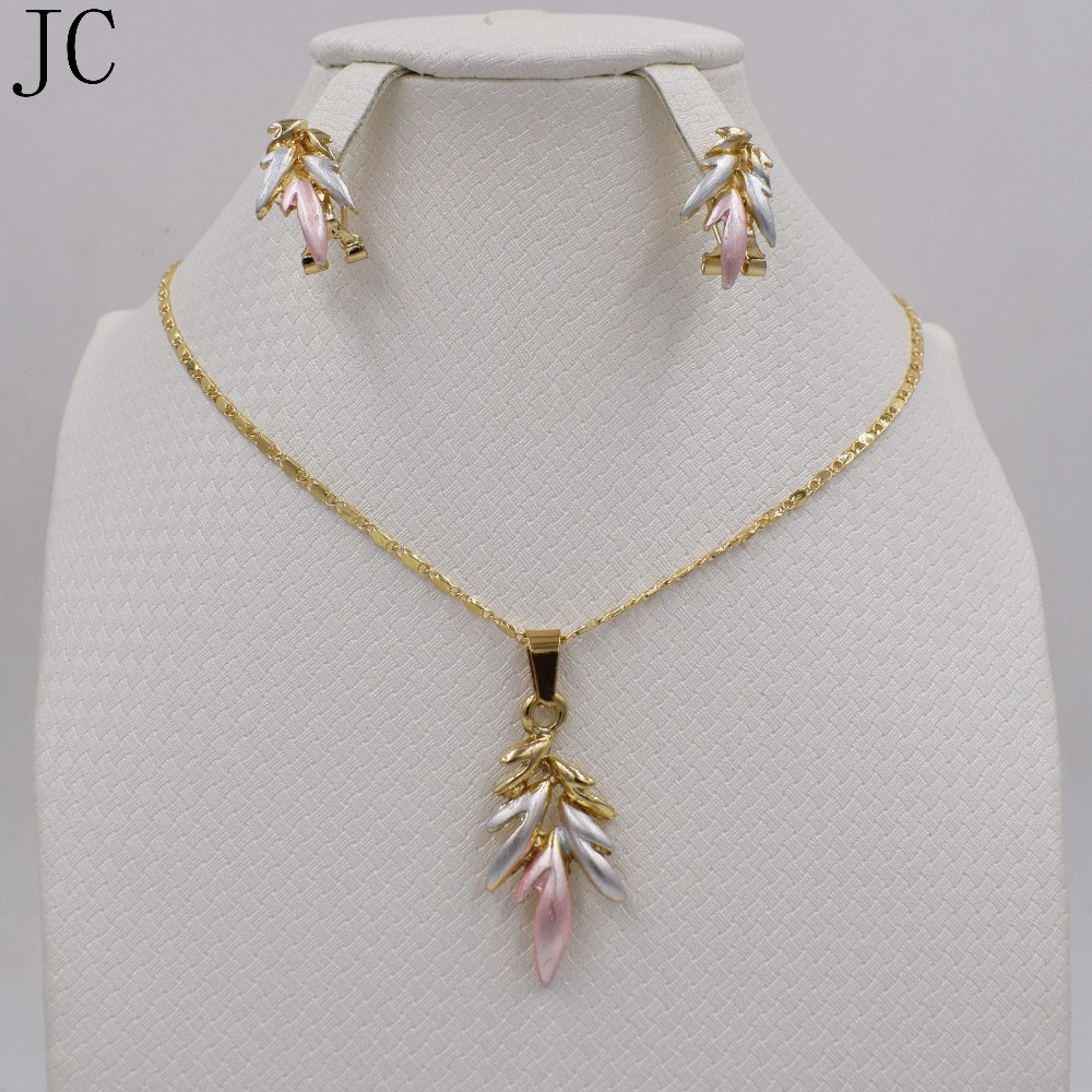 2016 African Dubai romantic women's double color jewelry sets of bridal jewelry Dubai 18K Gold Plated Necklace Earrings Jewelry