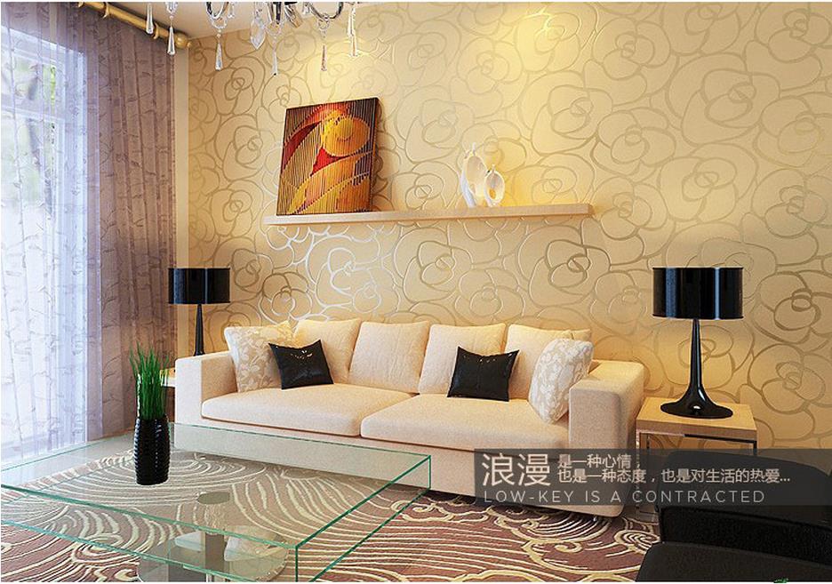 Plain non woven clothing store wallpaper simple modern imitation ...