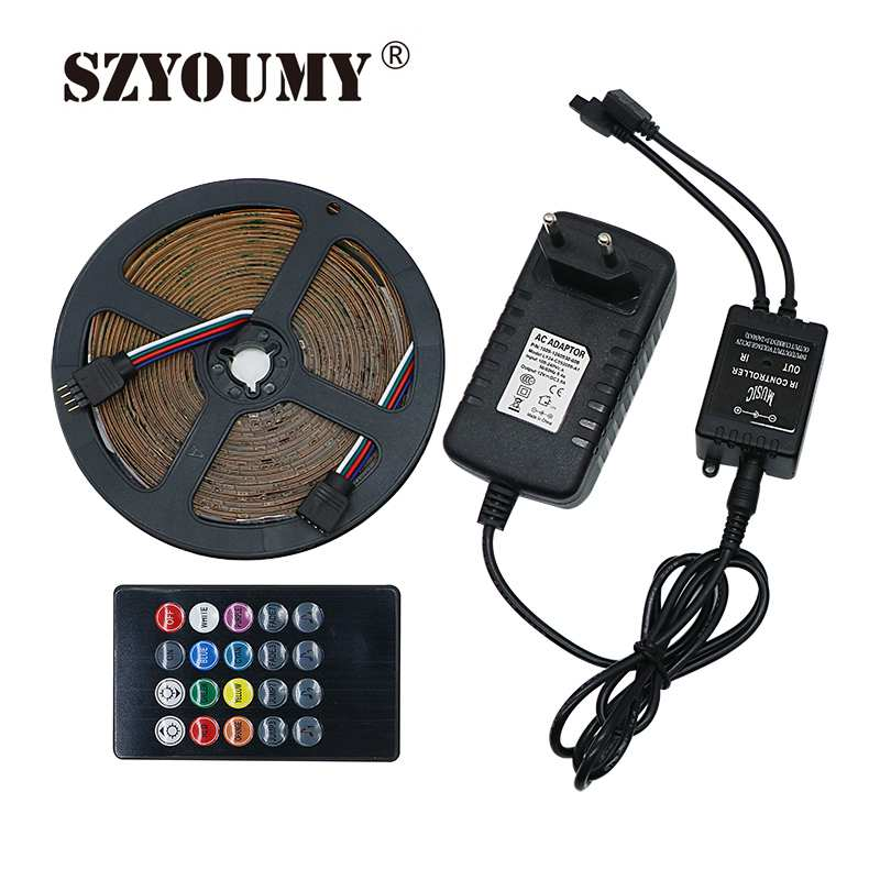 Consumer Electronics Hearty Rgb Led Strip Light 5050 10m 5m Led Light Rgb Leds Tape Diode Ribbon Flexible Remote Controller Dc12v Adapter Set Not Waterproof