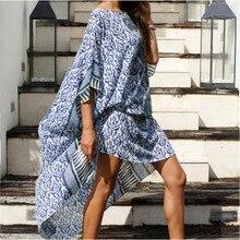Plus Size Kaftan Beach Tunic Women Summer Beachwear Swimsuit Cover Up Ladies Bohemian Beach Dress Robe de plage sarongs pareo
