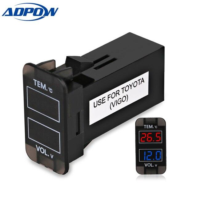 12 В в двойной светодио дный светодиодный цифровой термометр Вольтметр авто интерфейс напряжение метров для TOYOTA VIGO
