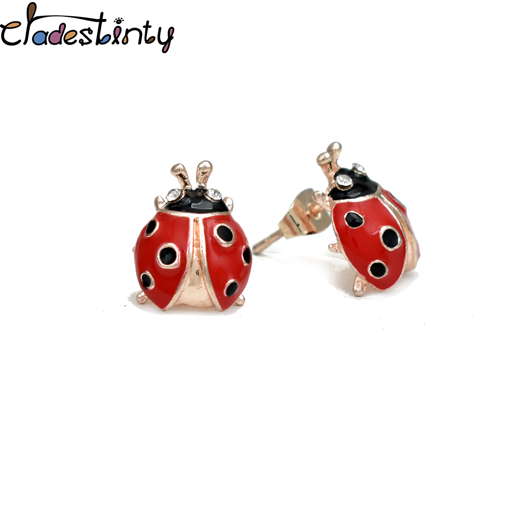 59c3d2c93 Chadestinty Red Enamel Ladybug Earrings Cute Crystal Small Insect Stud  Earring For Women Girls Jewellery orecchini smaltati-in Stud Earrings from  Jewelry ...