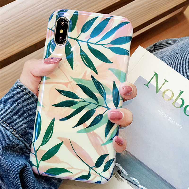 Blu-Ray Iphone XS XR XS Max X 6 6S 7 8 Plus Hot Plants Leaves Print Soft IMD Glossy Phone Back Cover Coque
