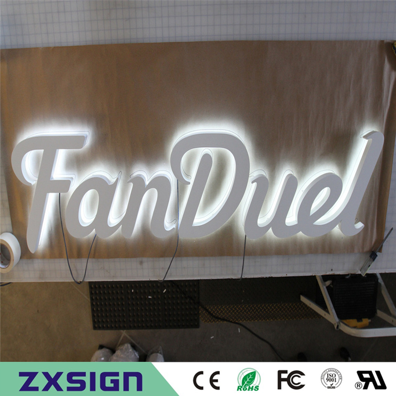 Factory Outlet  Exterior Stainless Steel 3D Backlit Signs, Outdoor Metal Back Lighted Shop Signs