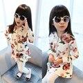 Primavera meninas calças saia twinset conjunto esportes conjunto de crianças jaqueta meninas floral