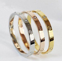 Stainless Steel Bangles For Women Men Rose Gold Silver Fashion Screw Bracelets 16 19 21cm Crystal