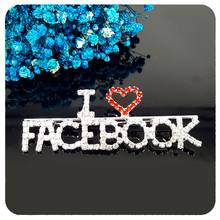 Sparkle Crystal Brooch Handmade Gift I Love FACEBOOK Word Pin to Facebook Fans