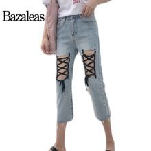Bazaleas Летние Женщины Демин Жан Тонкий теленок длина Брюки Мода Femme ног кабала Джинсы