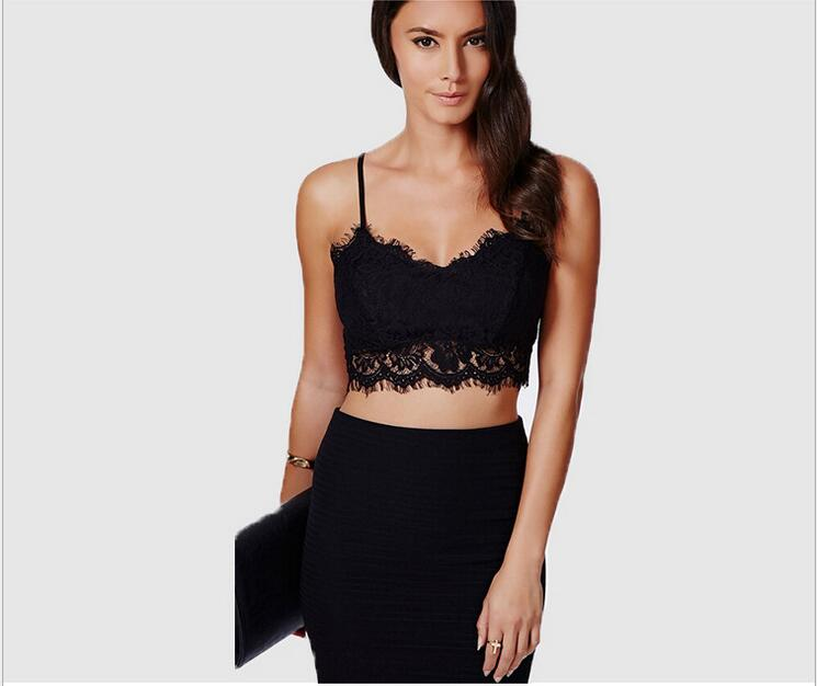a7e549d4cf 2018 new brandy melville tops spaghetti strap ladies camisole black white  lace bralette sexy tank top women summer crop top-in Camisoles   Tanks from  ...