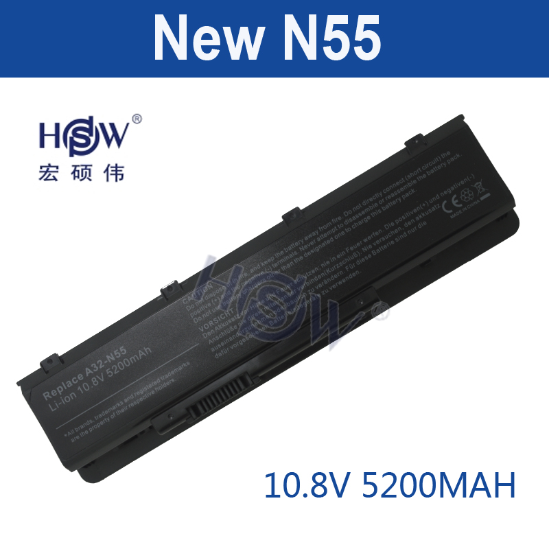 HSW 5200mAh LAPTOP NEW Battery A32-N55 07G016 HY1875 for ASUS N45 N45E N45S N45F N55 N55E N55S N55SF N75 N75E N75S N75SF laptop battery for medion a32 h90k 5200 a32 h90k 4400 a32 h90 akoya e1225 e1226 e1228 e1229 e1230 series pegatron h90mb h90k